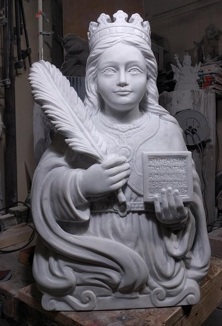 scultura marmo bianco, sant'agata